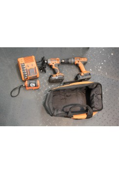 Ridgid Drill & Flashlight Set with bag + charger